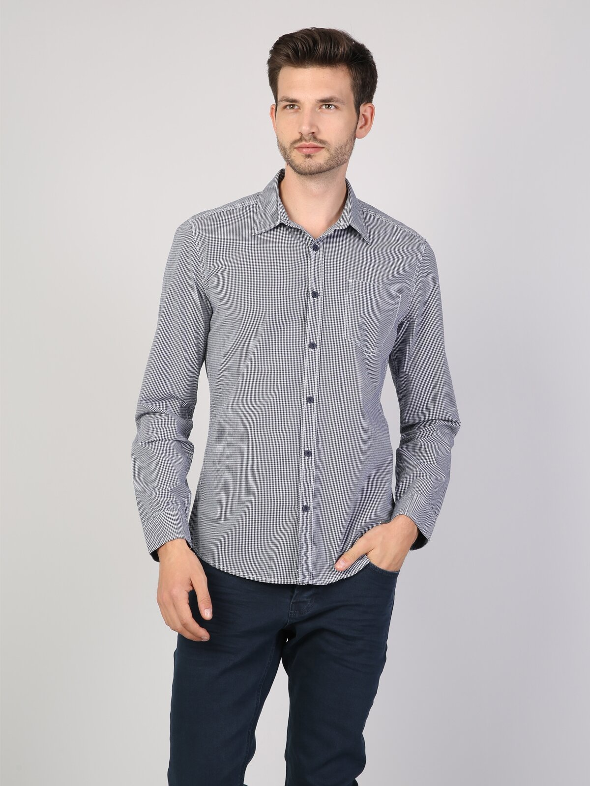 Slim Fit Lacivert Uzun Kol Gömlek