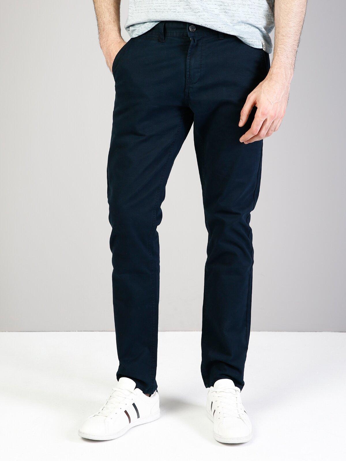 Slim Fit Orta Bel Slim Leg  Erkek Lacivert Pantolon