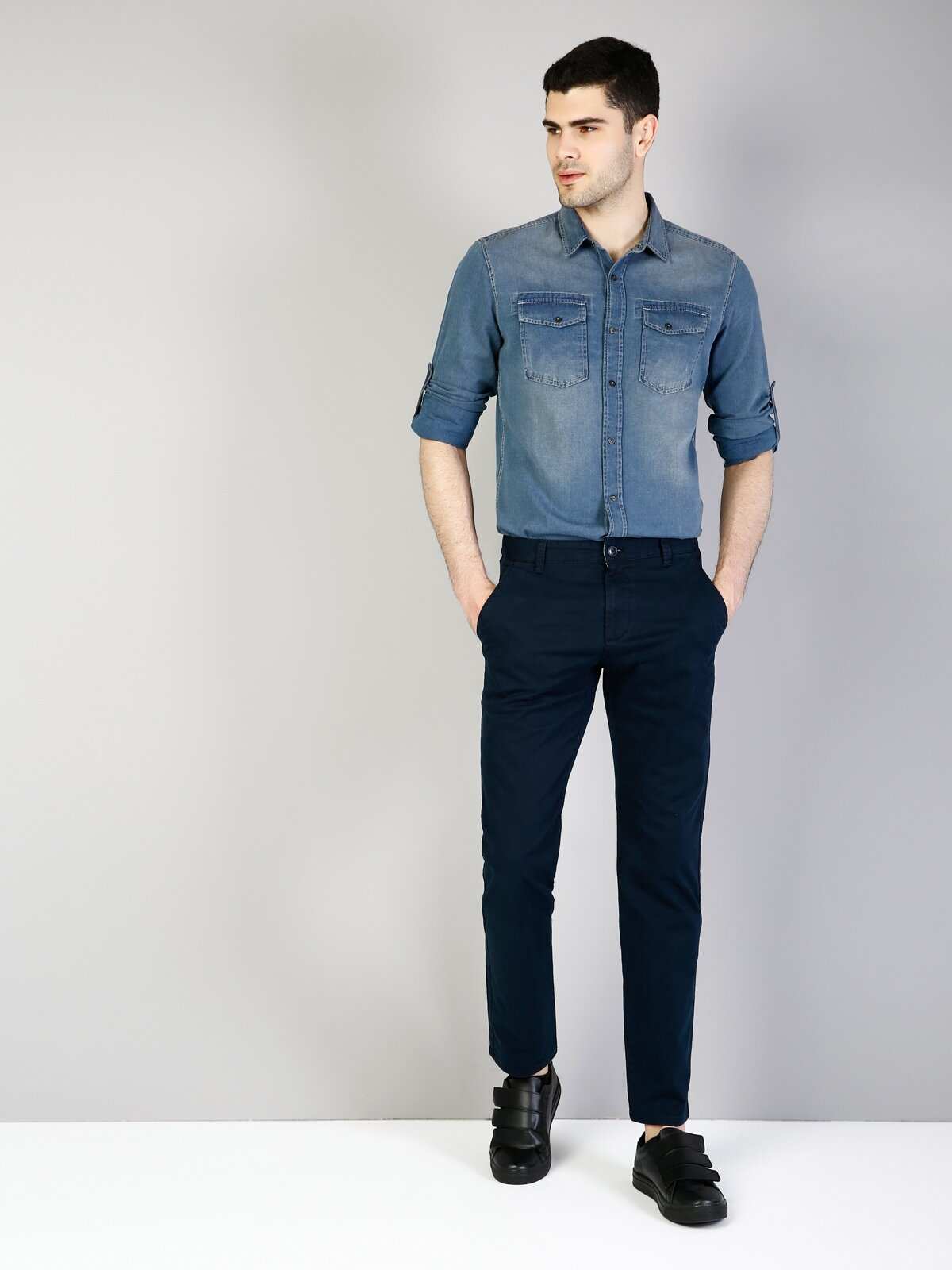 Orta Bel Düz Paça Regular Fit Lacivert Erkek Jean Pantolon