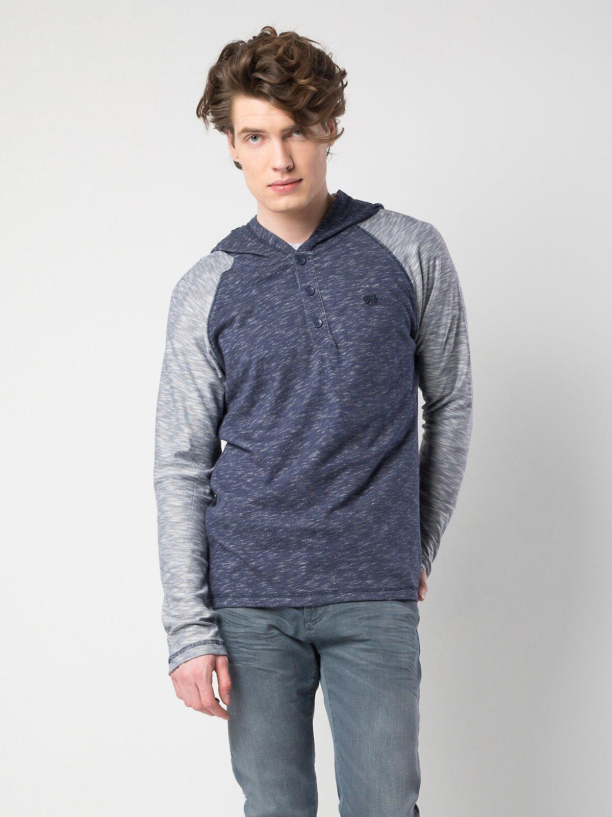 Mavi Yuvarlak Yaka Uzun Kol Tişört