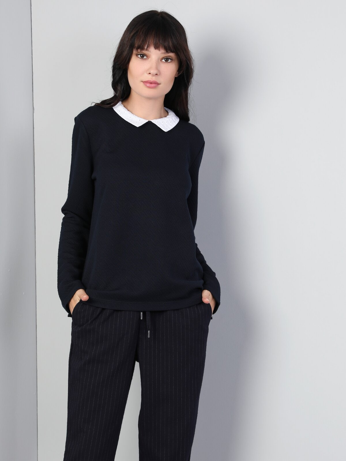 Regular Fit Shirt Neck Kadın Lacivert Tshirt U.Kol