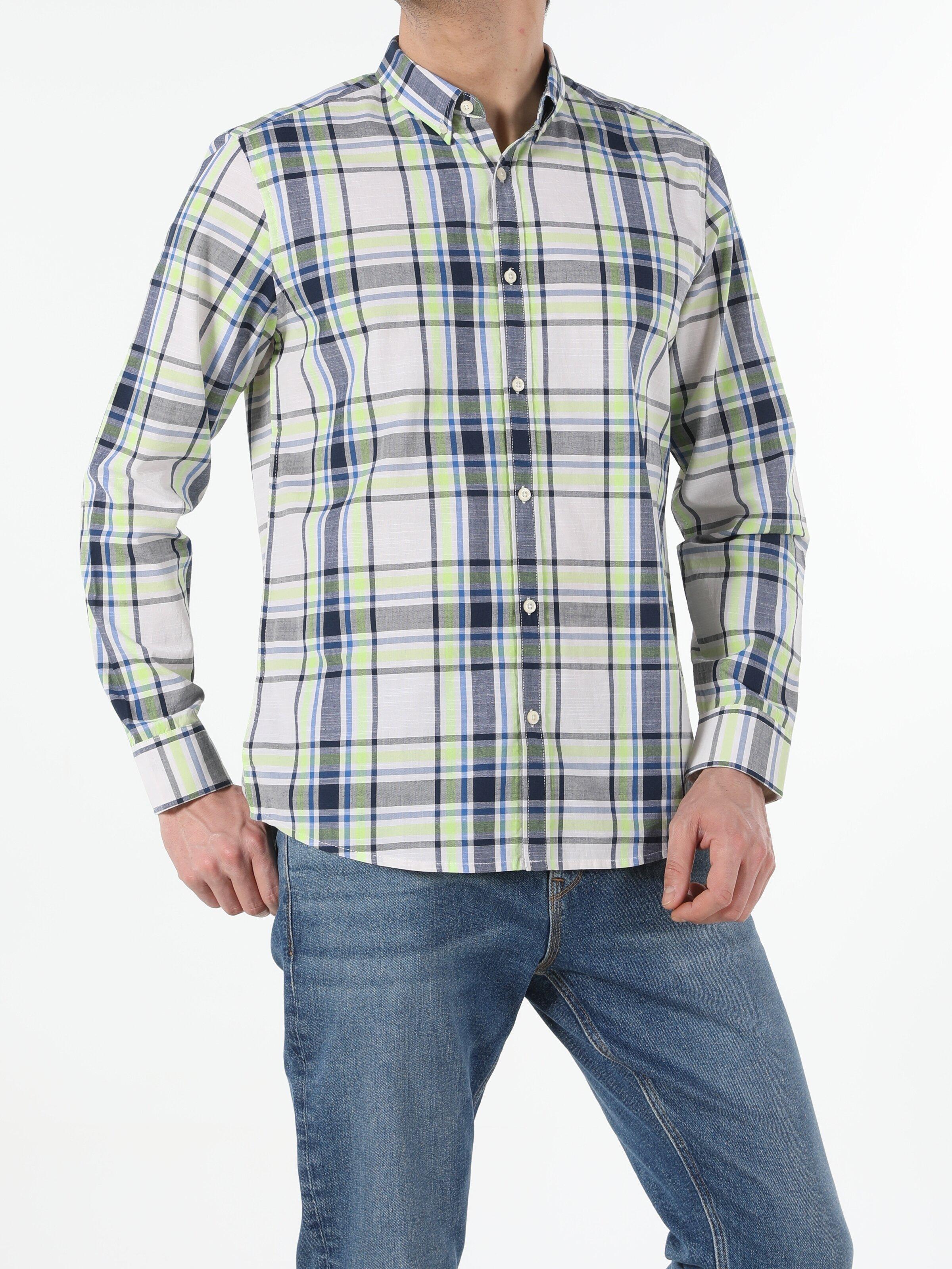 Lacivert Regular Fit Shirt Neck  Erkek Uzun Kol Gömlek