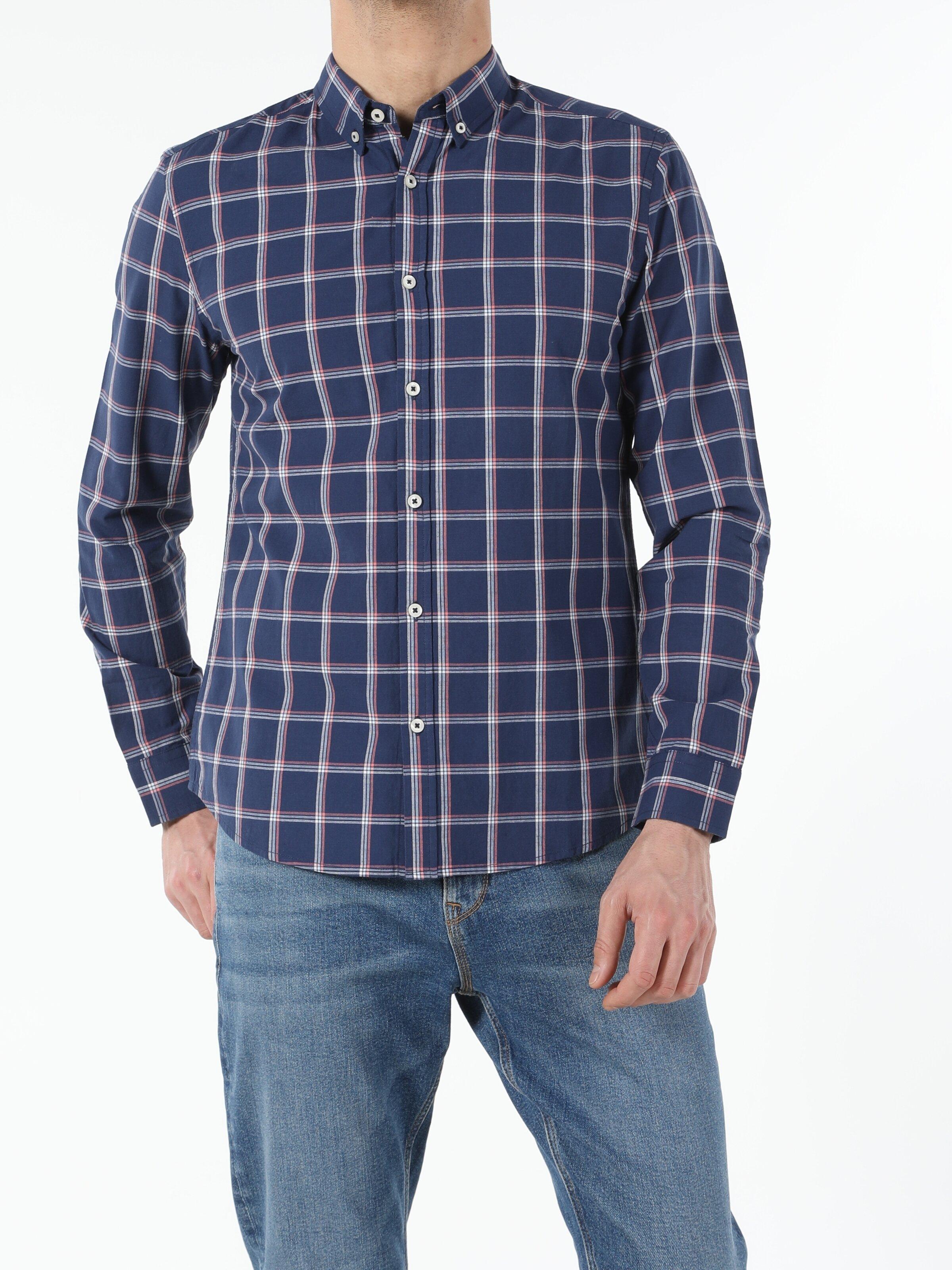 Lacivert Slim Fit Shirt Neck  Erkek Uzun Kol Gömlek