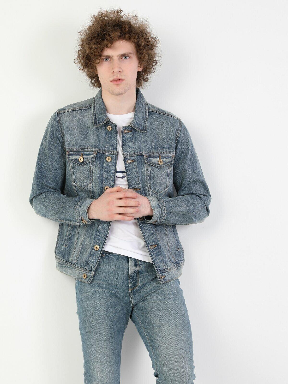 020 Mıce Regular Fit Mavi Erkek Jean Ceket