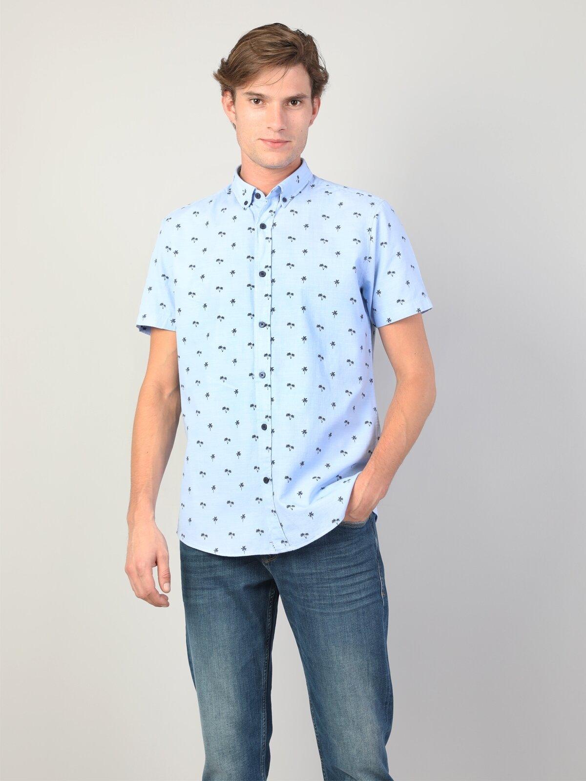 Regular Fit Shirt Neck Erkek Mavi Kısa Kol Gömlek