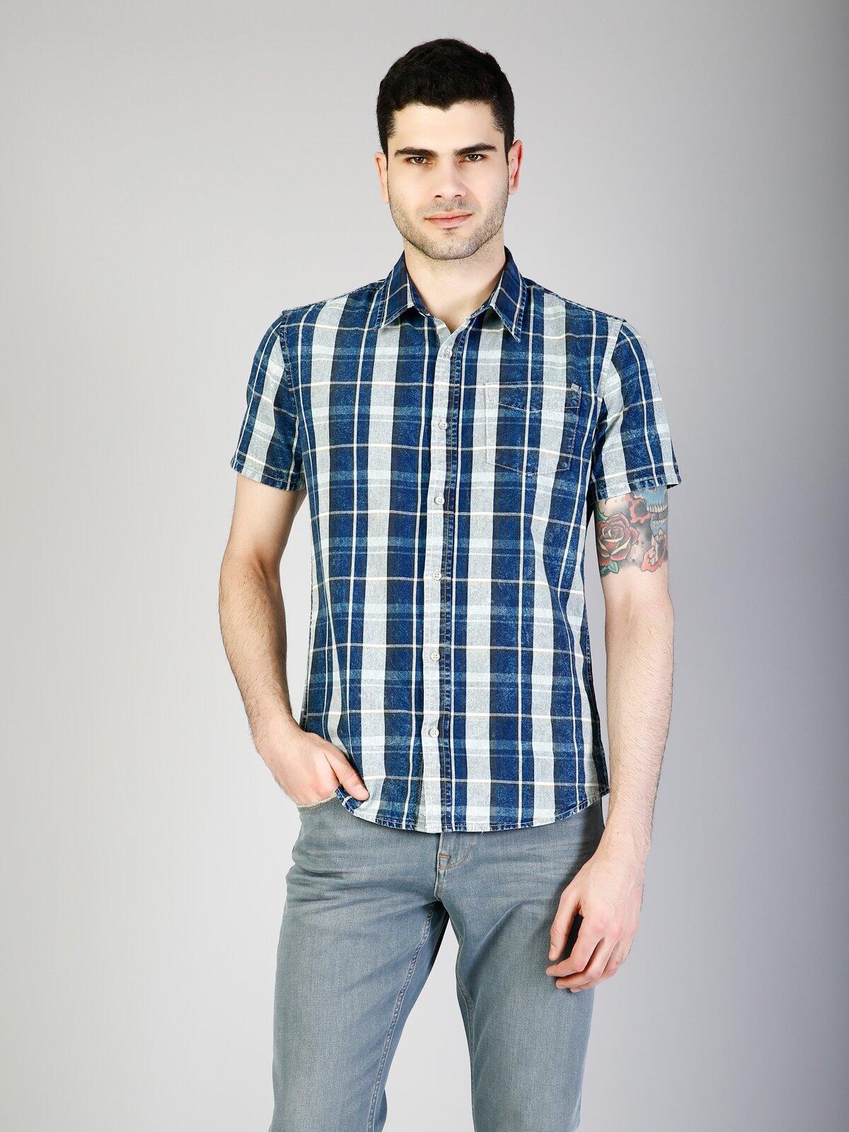 İndigo Kısa Kol Gömlek
