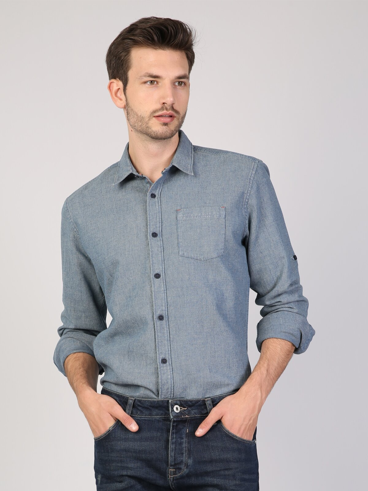 İndigo Uzun Kol Gömlek