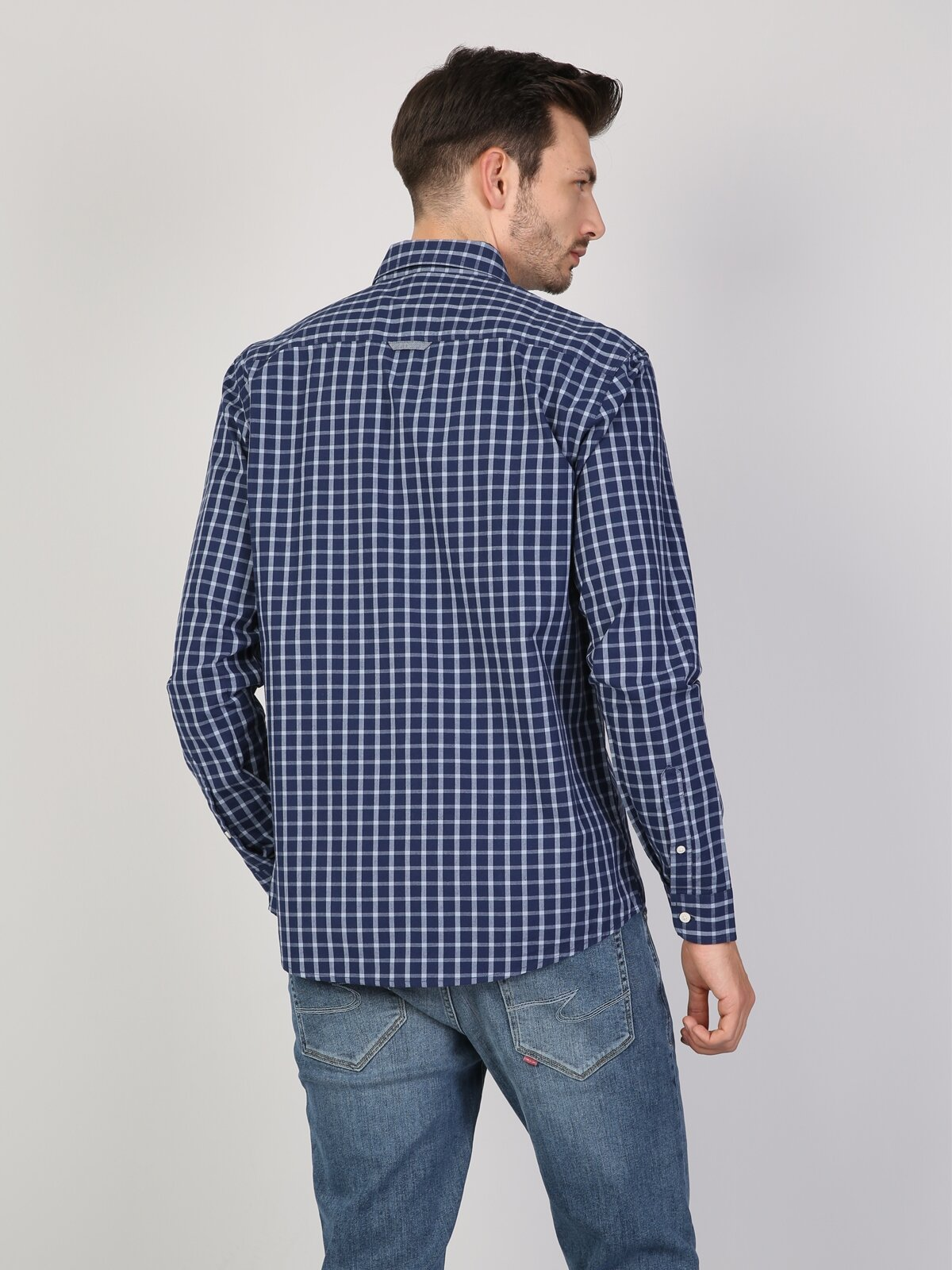 Regular Fit Shirt Neck Erkek İndigo Uzun Kol Gömlek