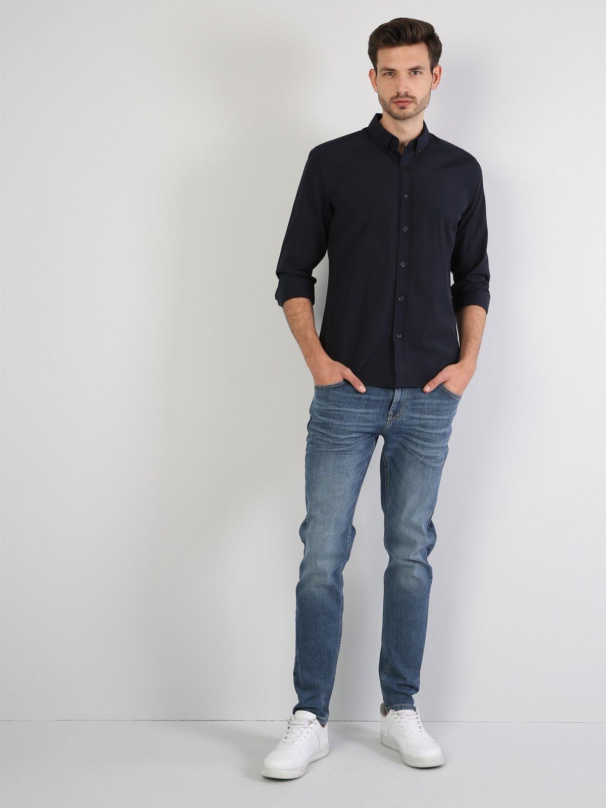 Slim Fit Koyu Lacivert Uzun Kol Gömlek