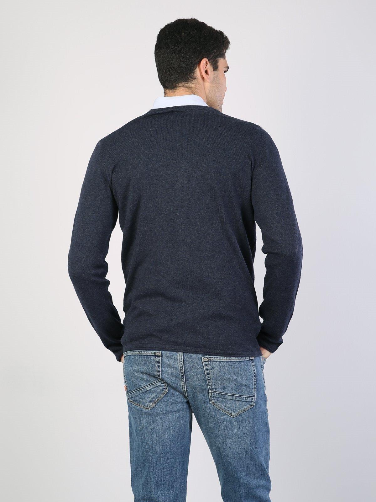 Normal Kesim Düğmeli Erkek Mavi Hırka