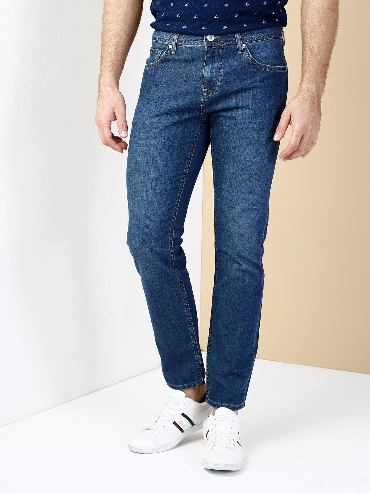 044 Karl Düşük Bel Düz Paça Straight Fit Mavi Erkek Jean Pantolon