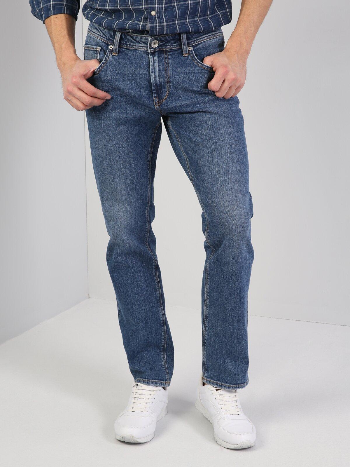 045 David Normal Kesim Orta Bel Geniş Paça Mavi Jean Pantolon