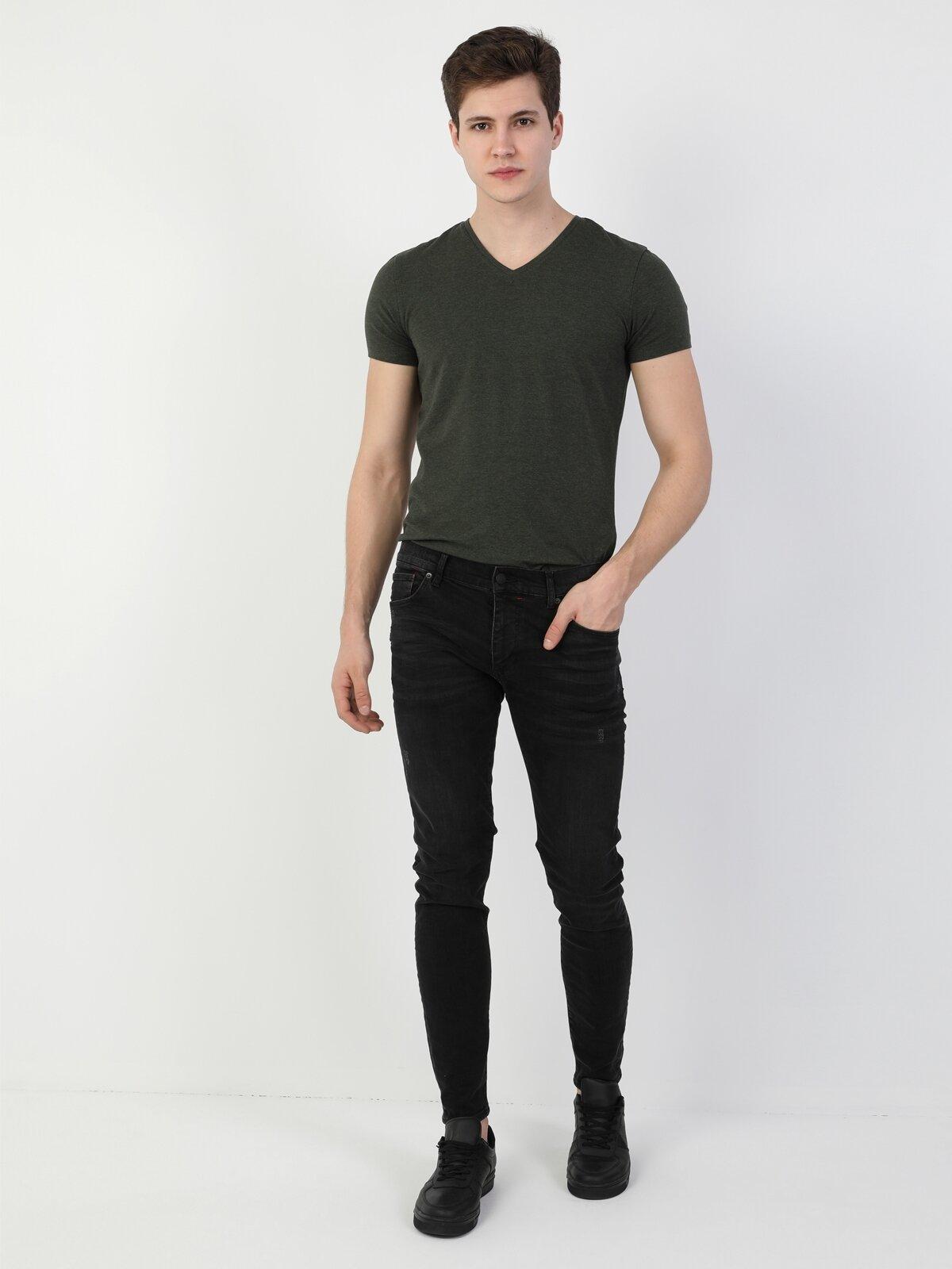 40 Alex Süper Slim Fit Düşük Bel Süper Dar Paça Erkek Siyah Jean Pantolon
