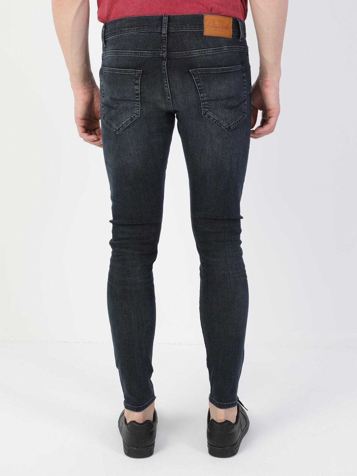 040 Alex Süper Dar Kesim Düşük Bel Süper Dar Paça Mavi Erkek Pantolon