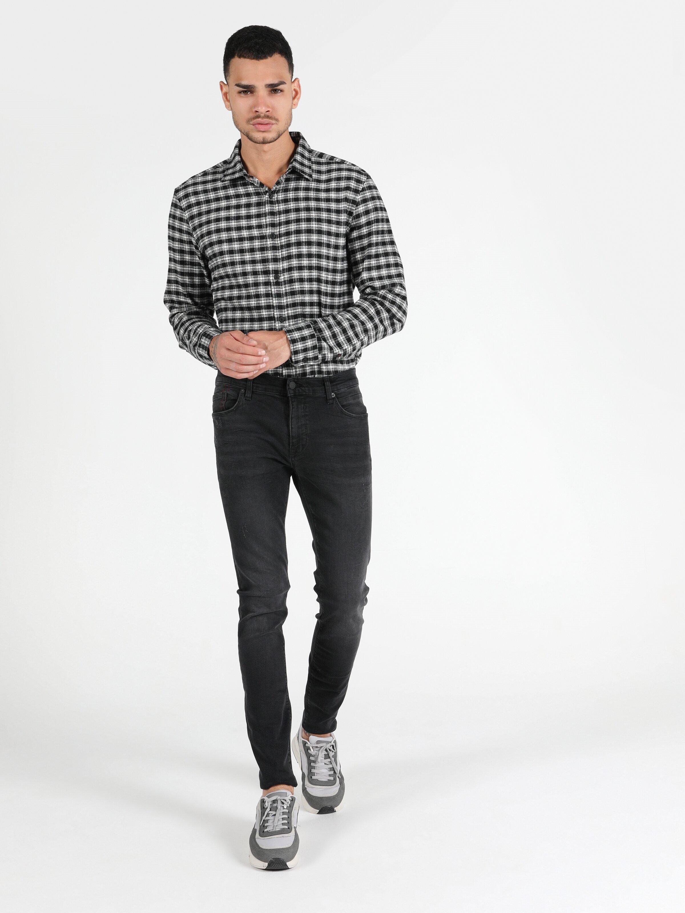040 Alex Düşük Bel Dar Paça Skinny Fit Mavi Erkek Jean Pantolon