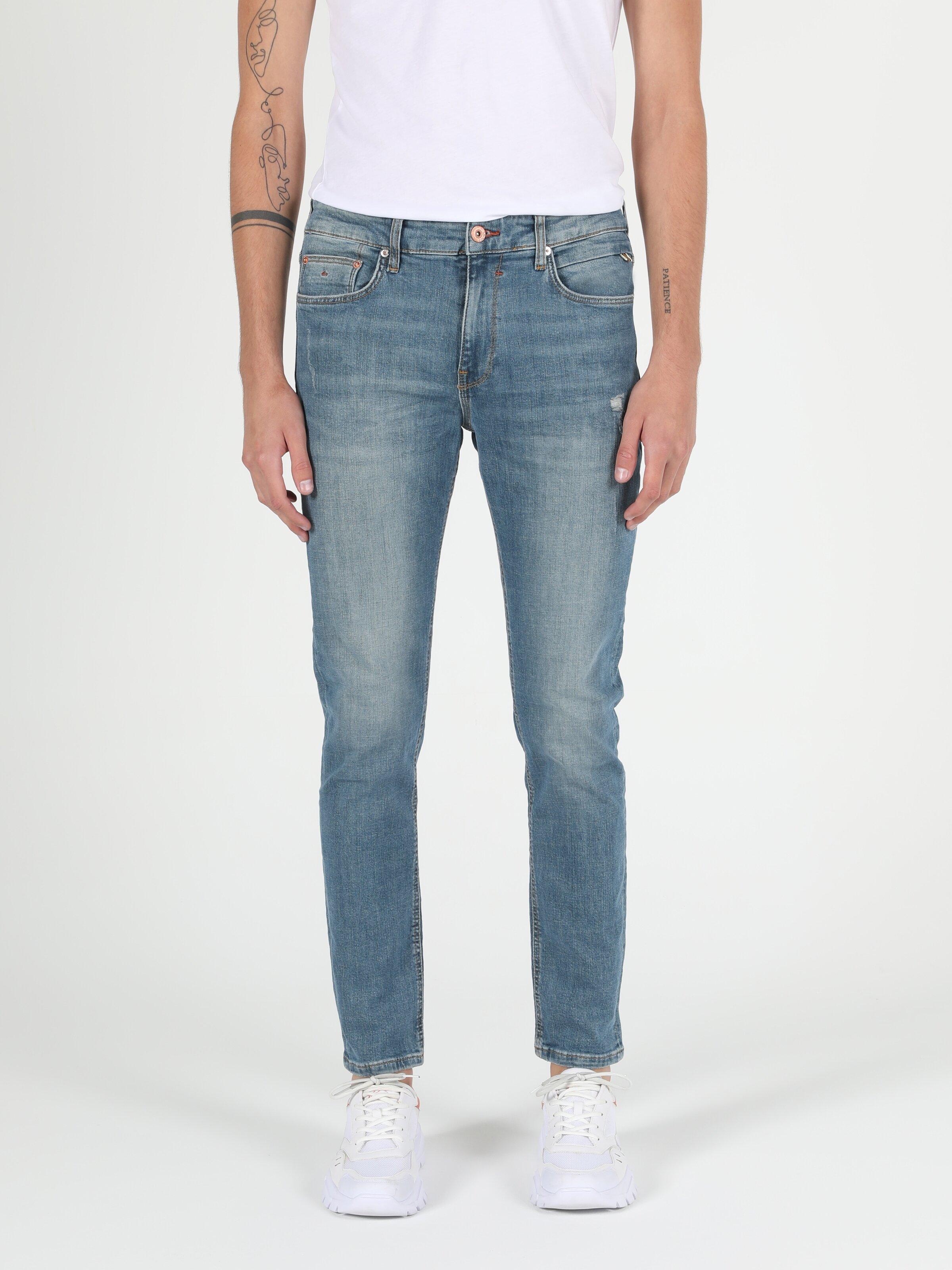 035 Ryan Yüksek Bel Dar Paça Skinny Fit Mavi Erkek Jean Pantolon