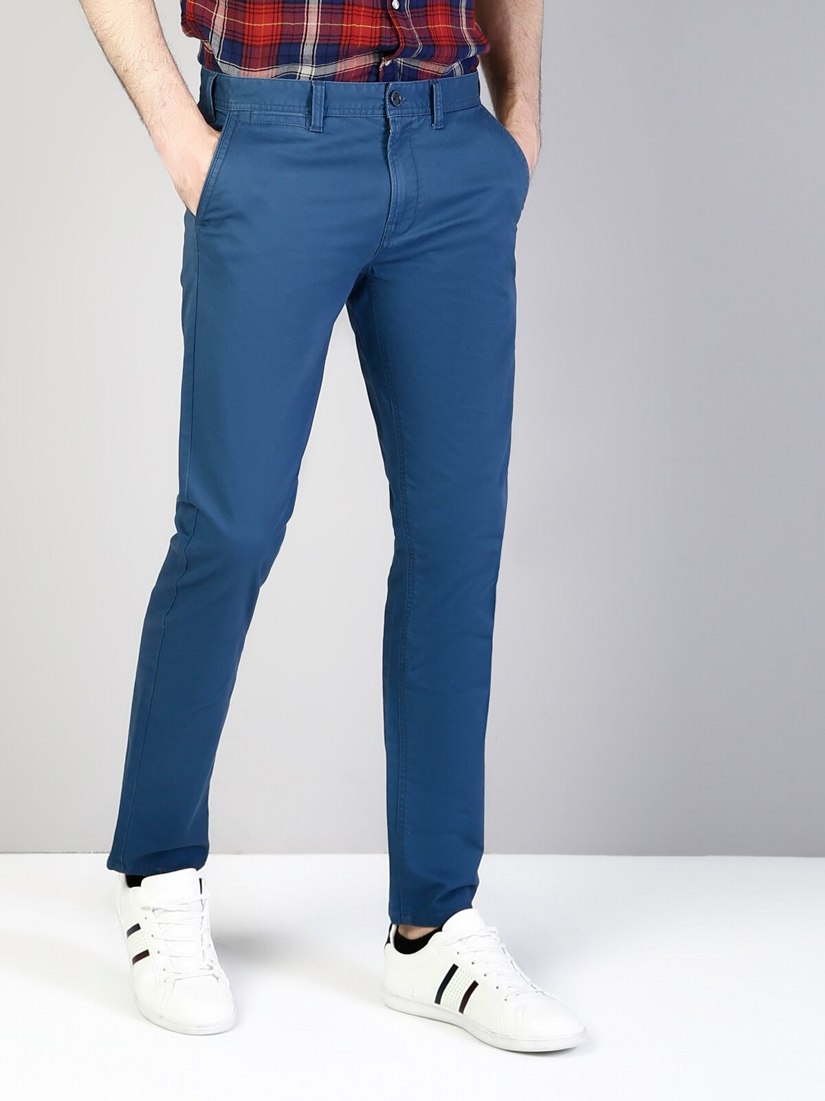 Slim Fit Orta Bel Slim Leg  Erkek İndigo Pantolon