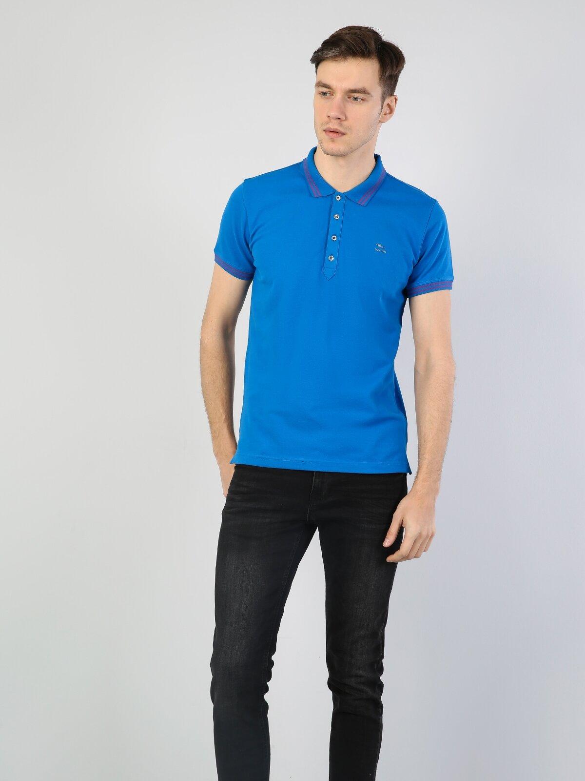 Slim Fit Polo Yaka Erkek Mavi Polo Kısa Kol