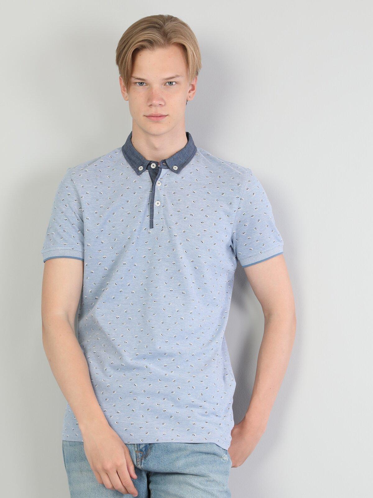 Slim Fit Polo Yaka Mavi Tişört
