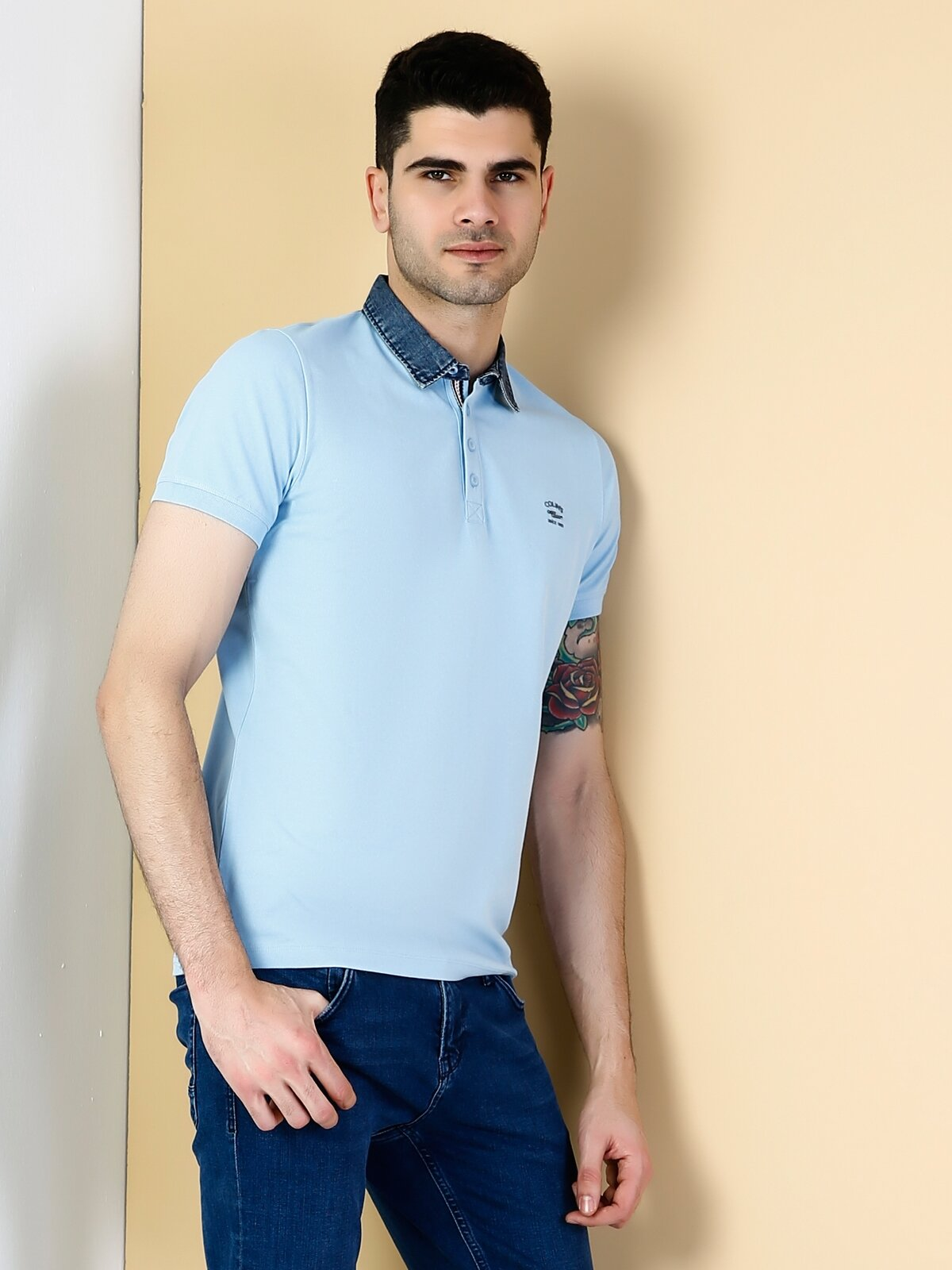 Dar Kesim Polo Yaka Mavi  Tişört