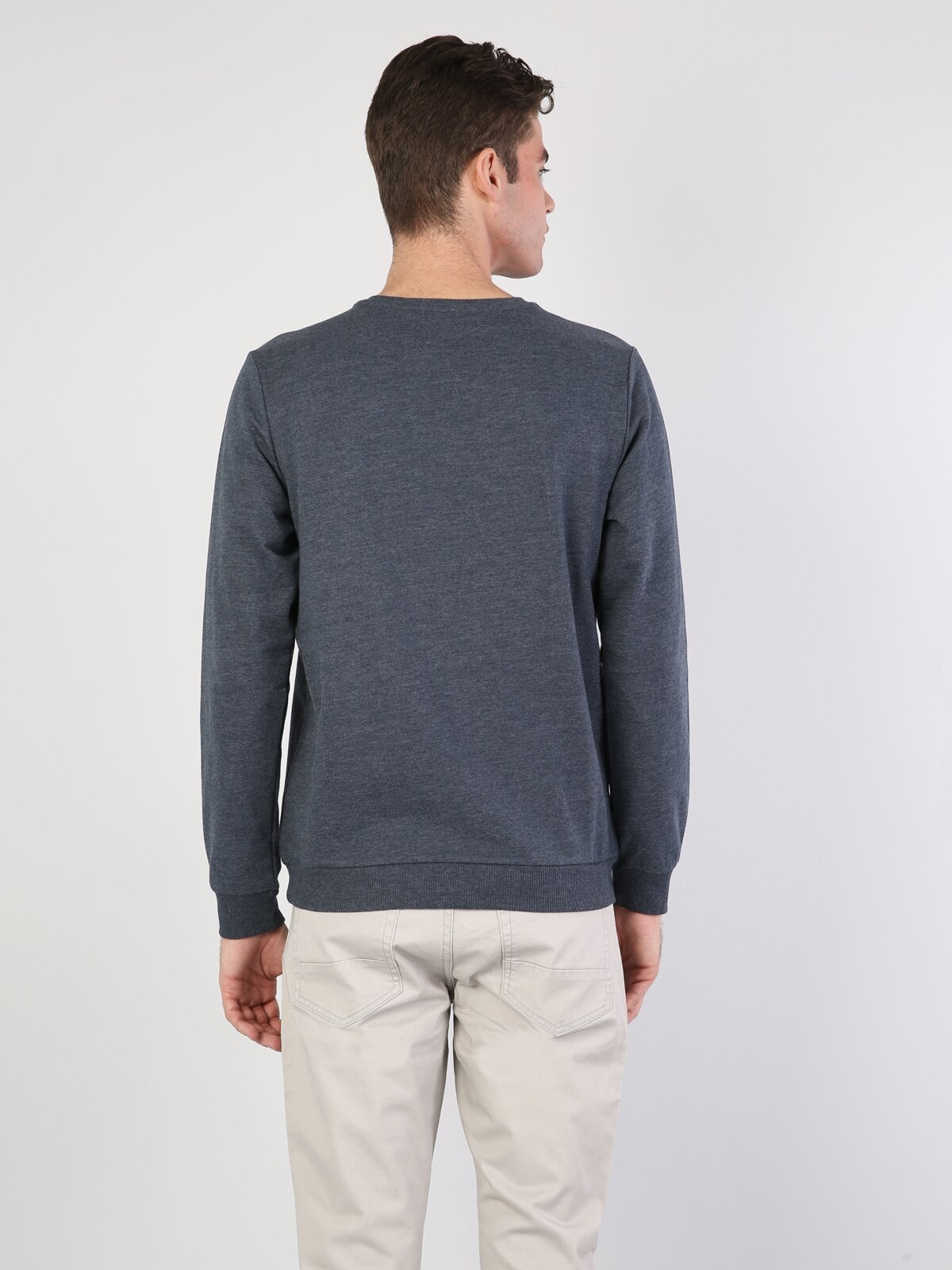 Regular Fit  Erkek Mavi Sweatshirt
