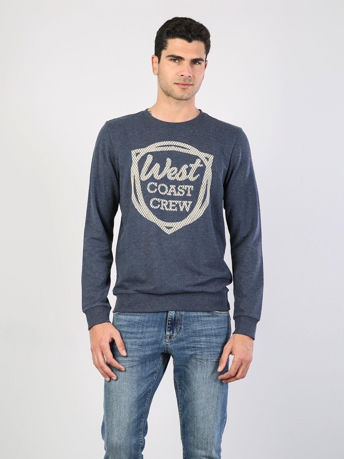 Mavi Baskılı Uzun Kol Sweatshirt