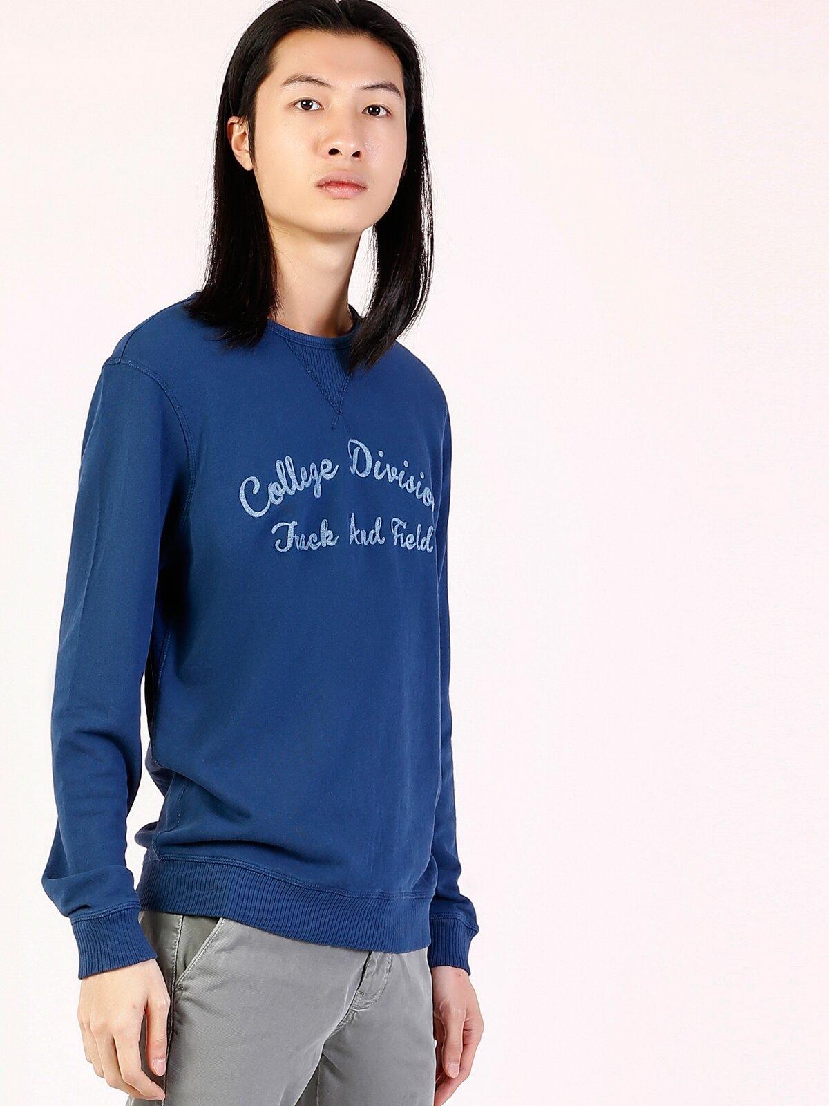 İndigo Baskılı Uzun Kol Sweatshirt