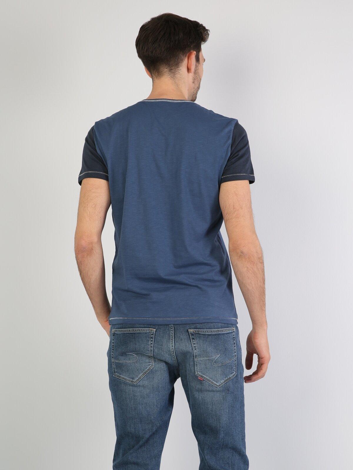 İndigo Yuvarlak Yaka Erkek Kısa Kol Tişört