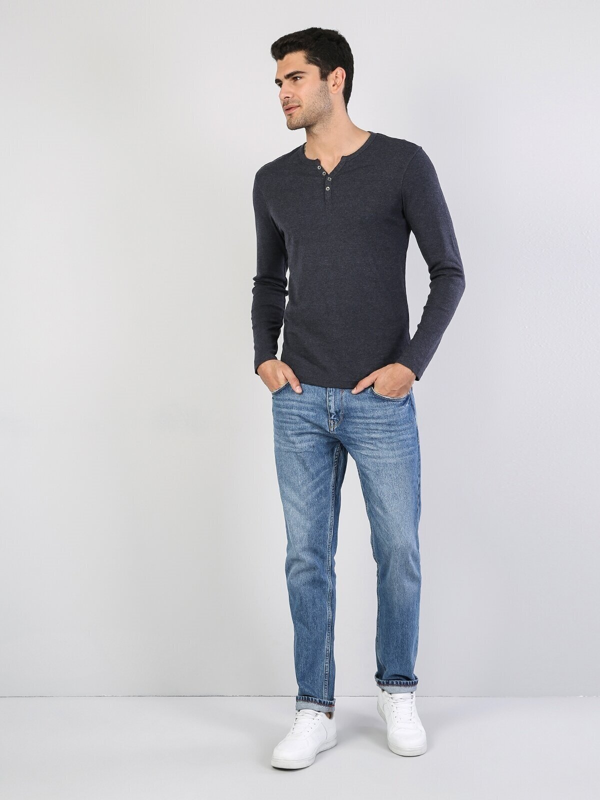 Slim Fit Placket Neck Erkek Mavi Tshirt U.Kol