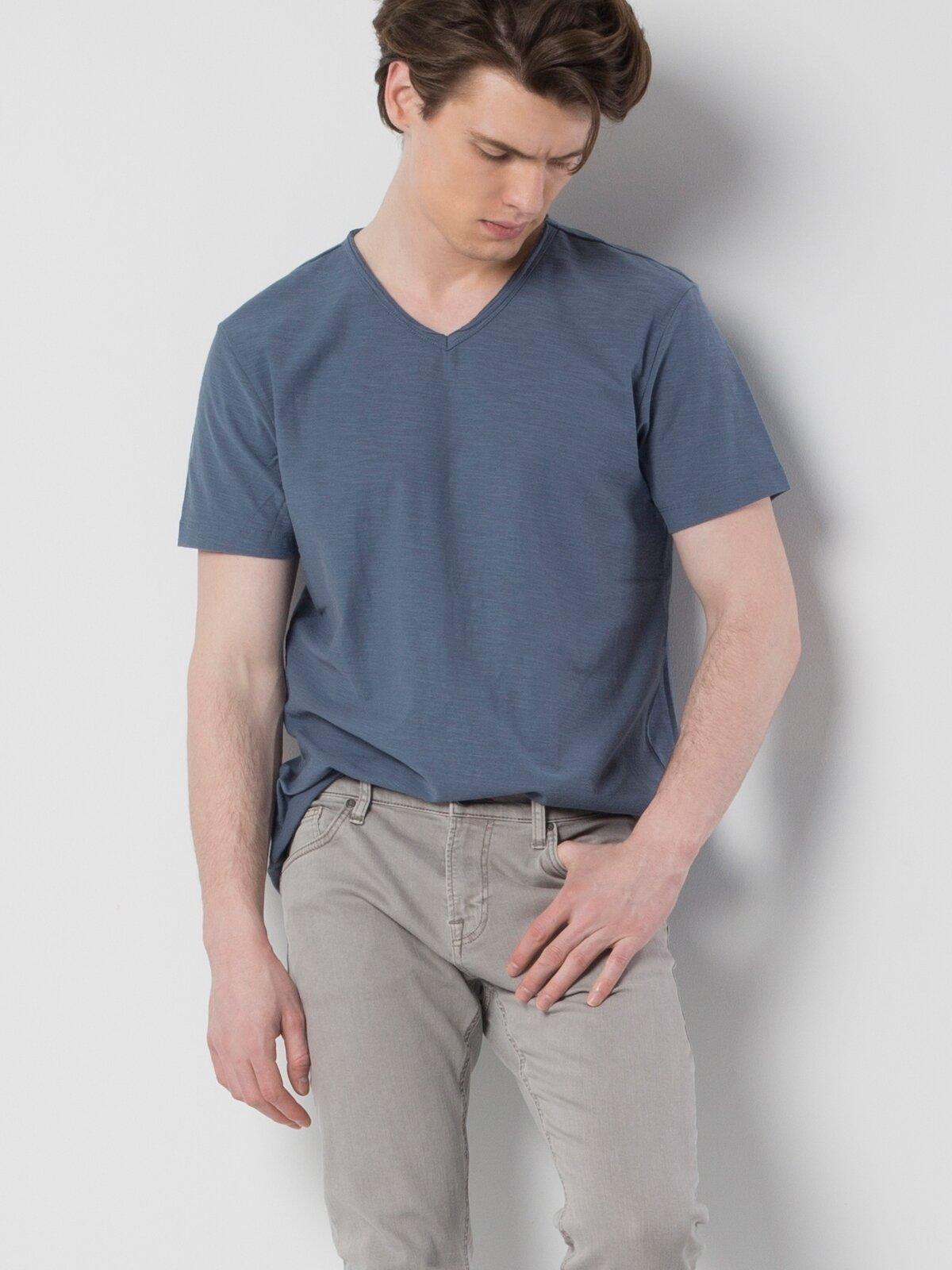 İndigo V Yaka Kısa Kol Tişört
