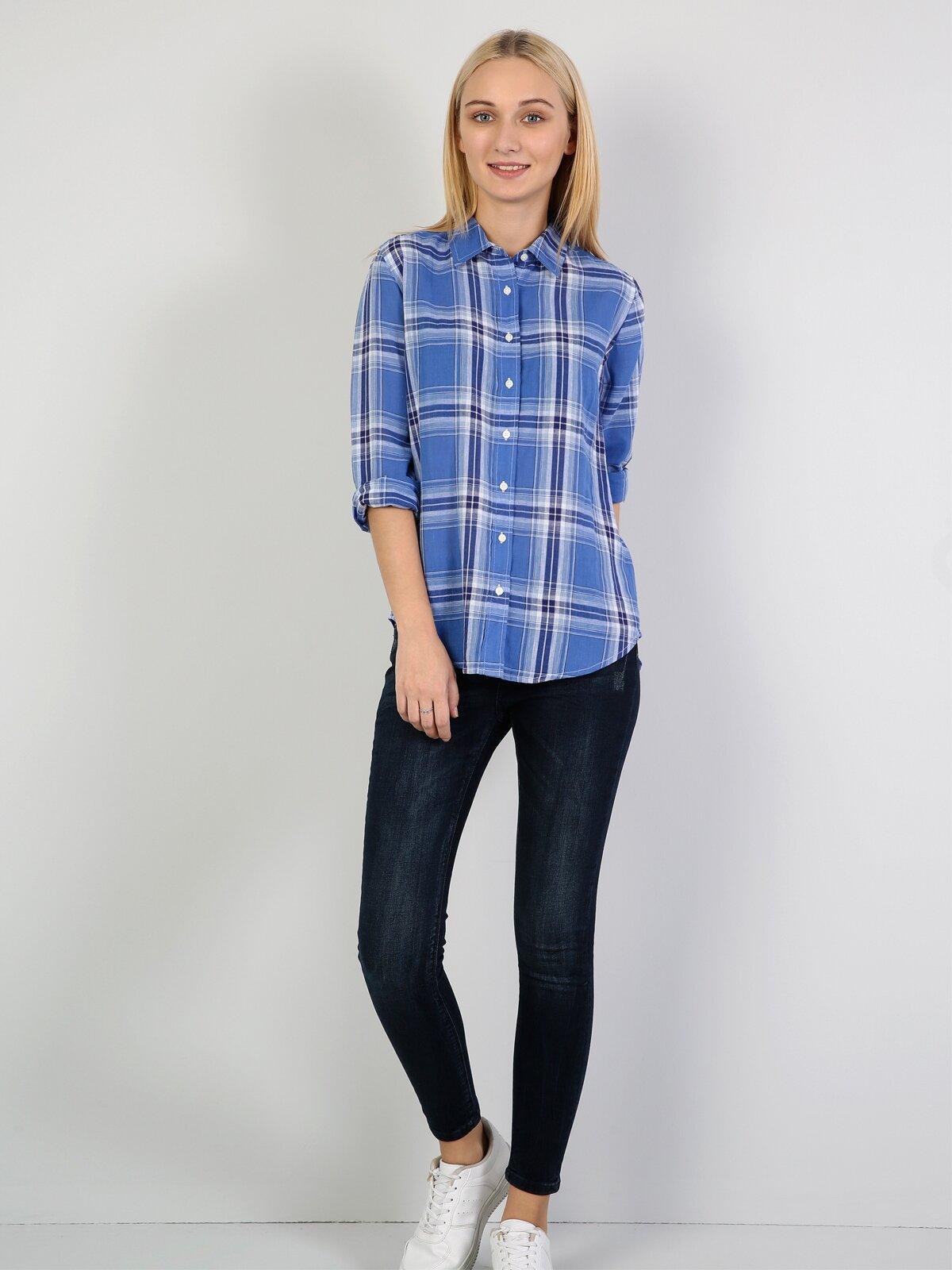 Regular Fit Kadın İndigo Uzun Kol Gömlek