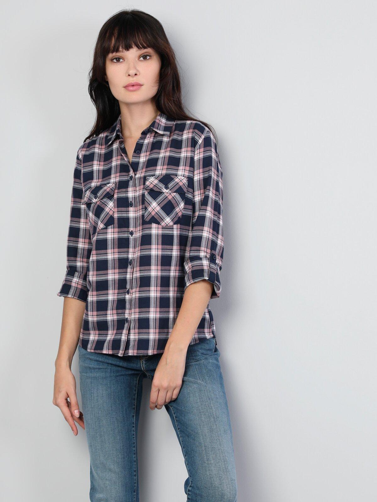 Super Slim Fit Shirt Neck Kadın İndigo Uzun Kol Gömlek