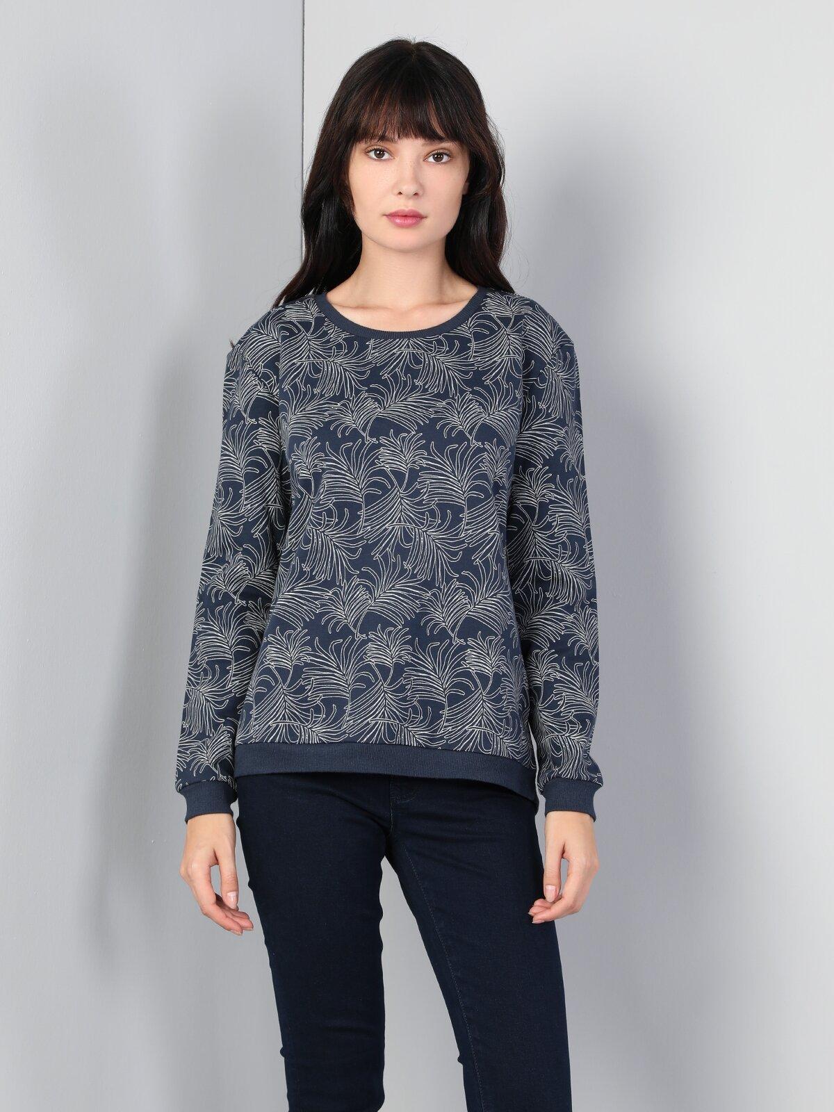 Regular Fit  Kadın İndigo Sweatshirt