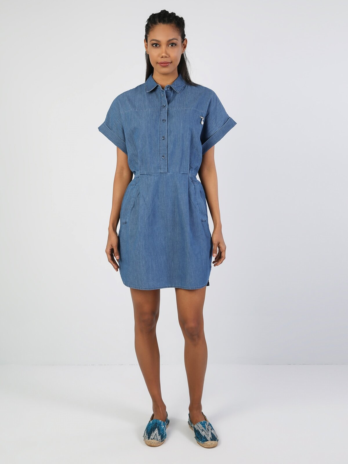 Regular Dress  Kadın İndigo Elbise