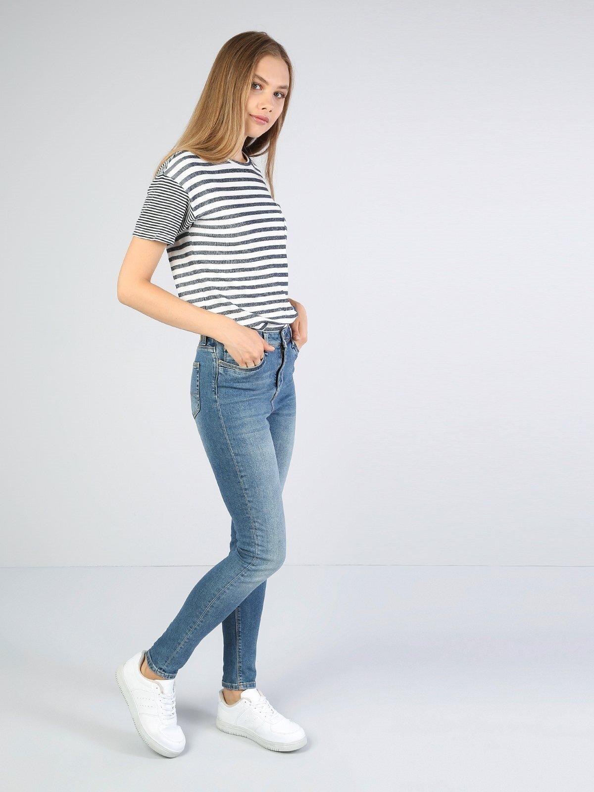 760 Diana Slim Fit Yüksek Bel Dar Paça Mavi Jean Pantolon