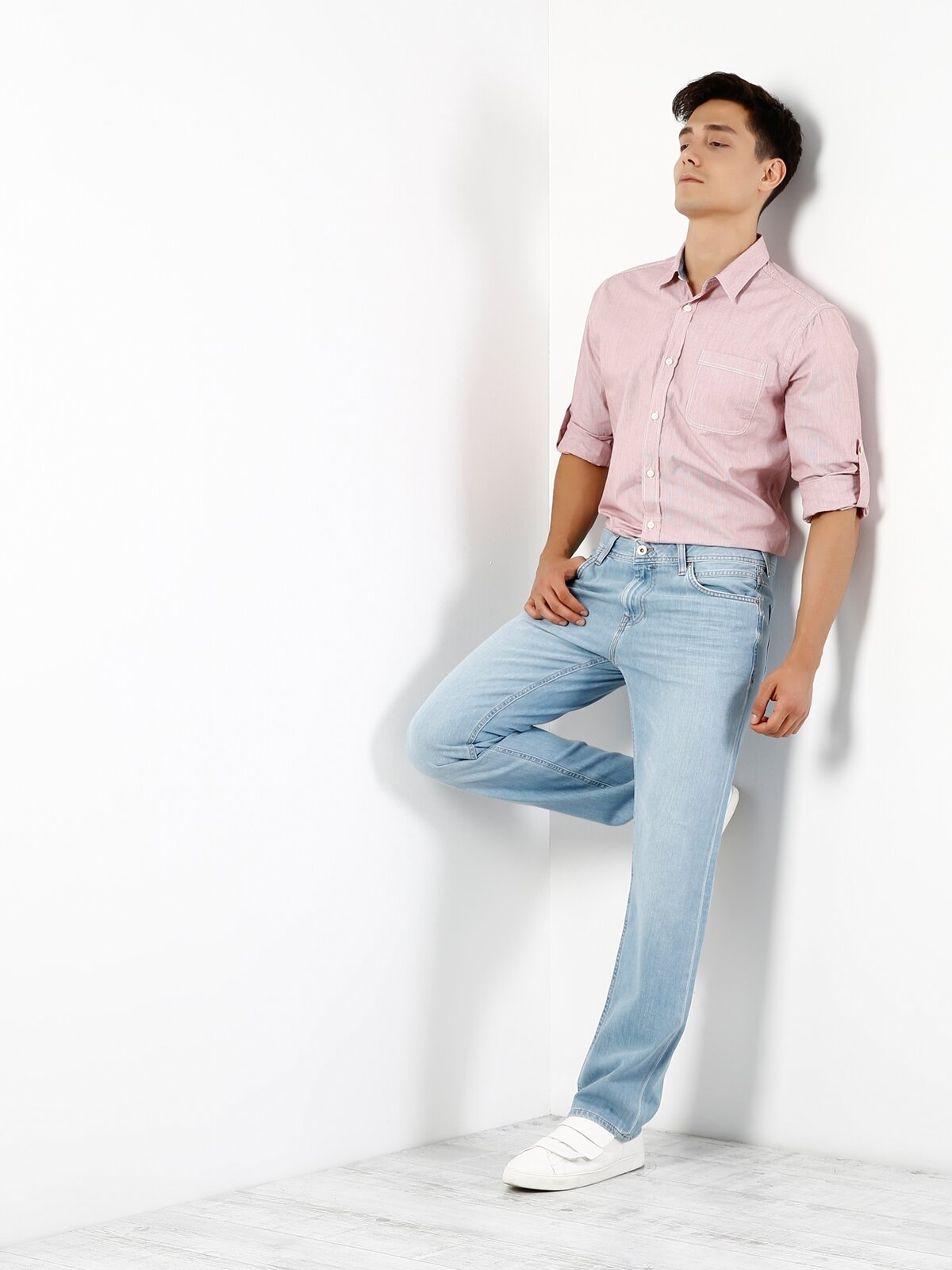 Modern Fit  Erkek Mercan Uzun Kol Gömlek