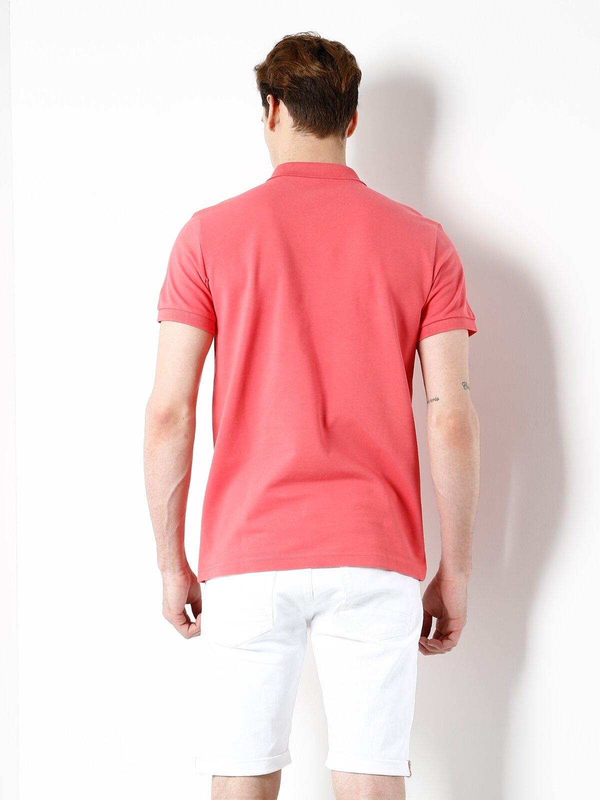 Polo Yaka Mercan Kısa Kol Tişört