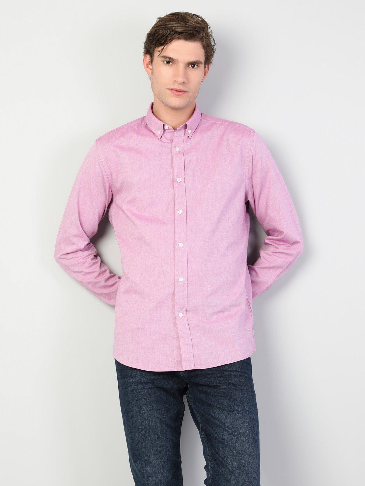 Regular Fit Shirt Neck Erkek Lila Uzun Kol Gömlek
