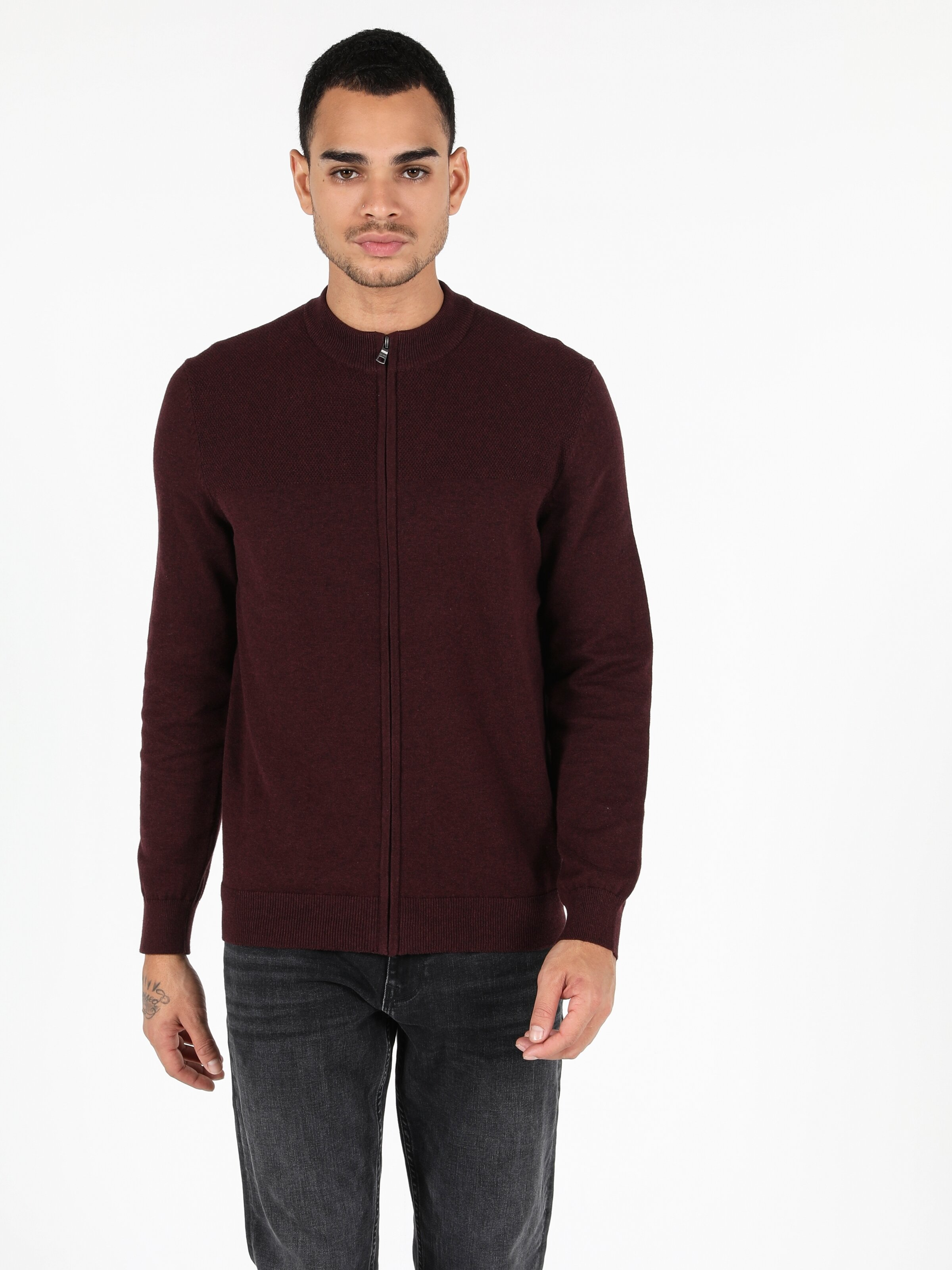 Regular Fit  Erkek Bordo Hırka