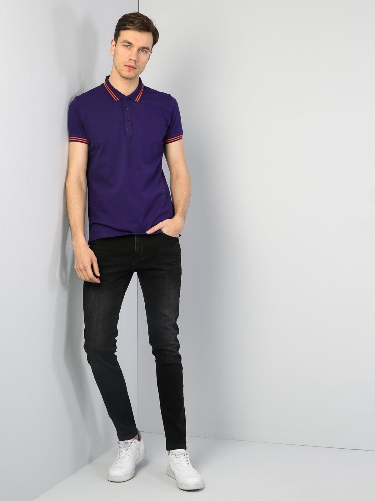Slim Fit Polo Yaka Mor Tişört