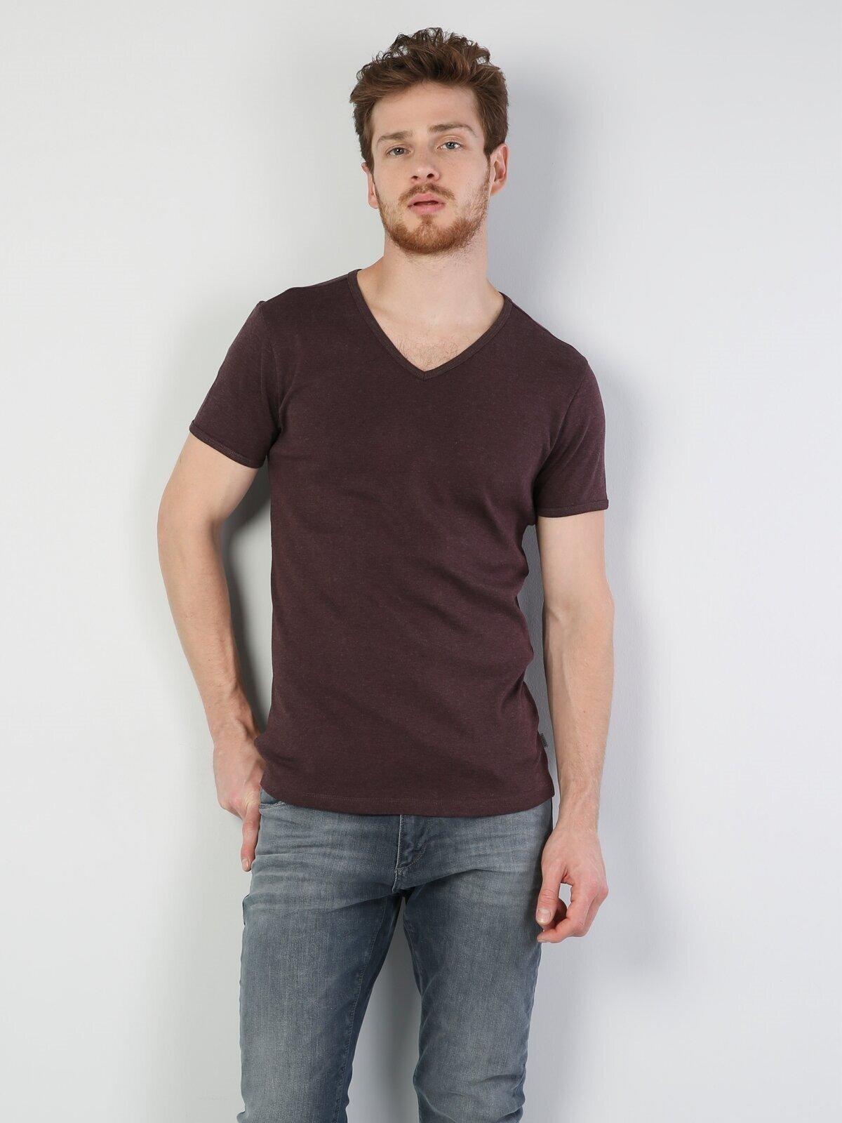 Slim Fit V Yaka Erkek Bordo Kısa Kol Tişört