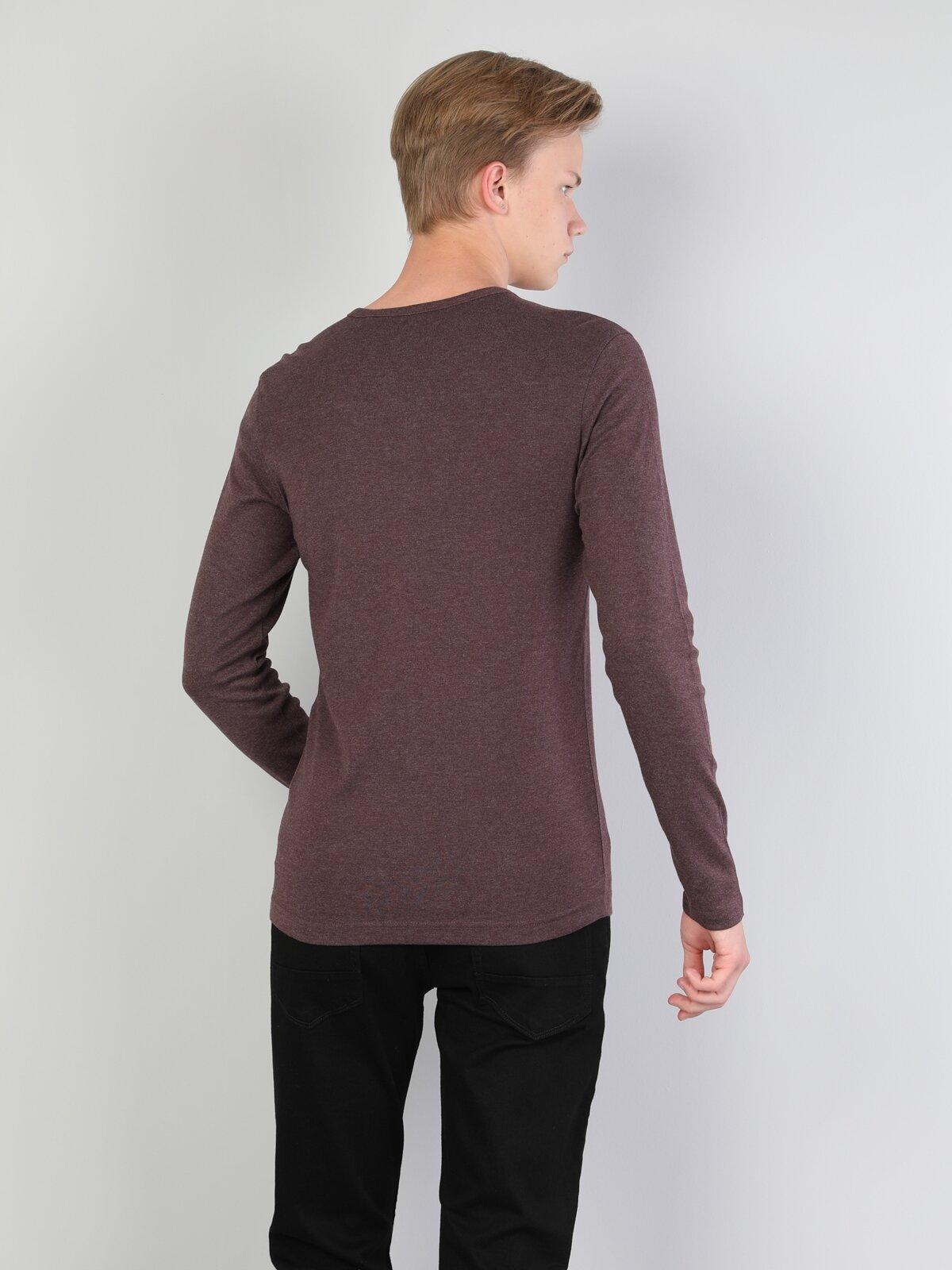 Slim Fit Düğmeli Yaka Mor Erkek Uzun Kol Tişört