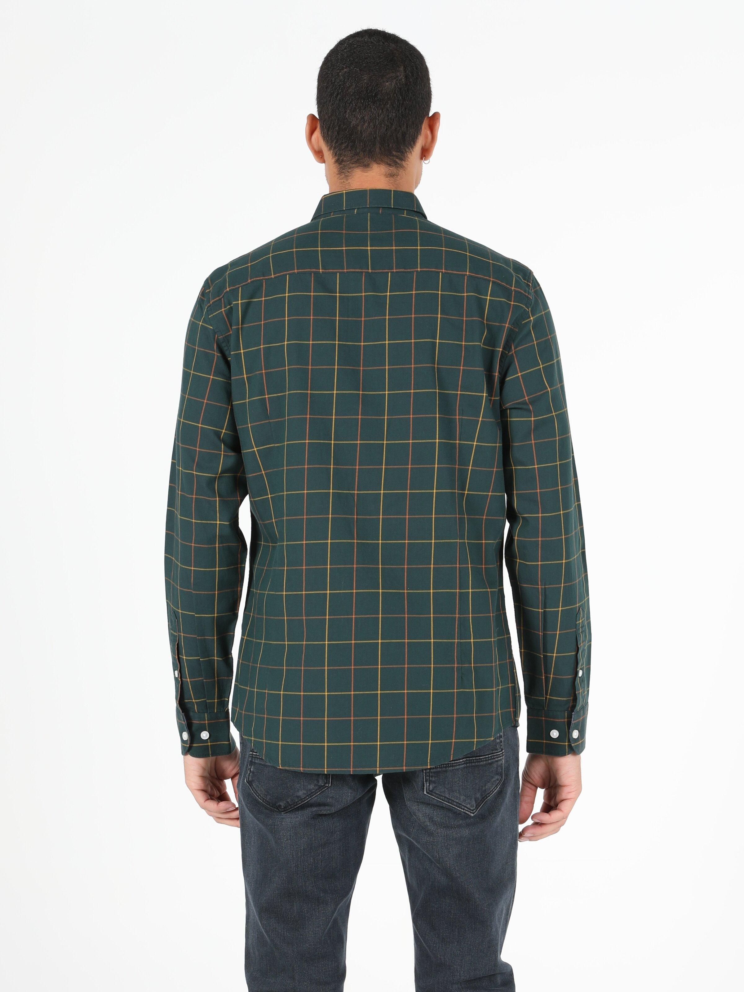 Slim Fit Shirt Neck Erkek Koyu Yeşil Uzun Kol Gömlek