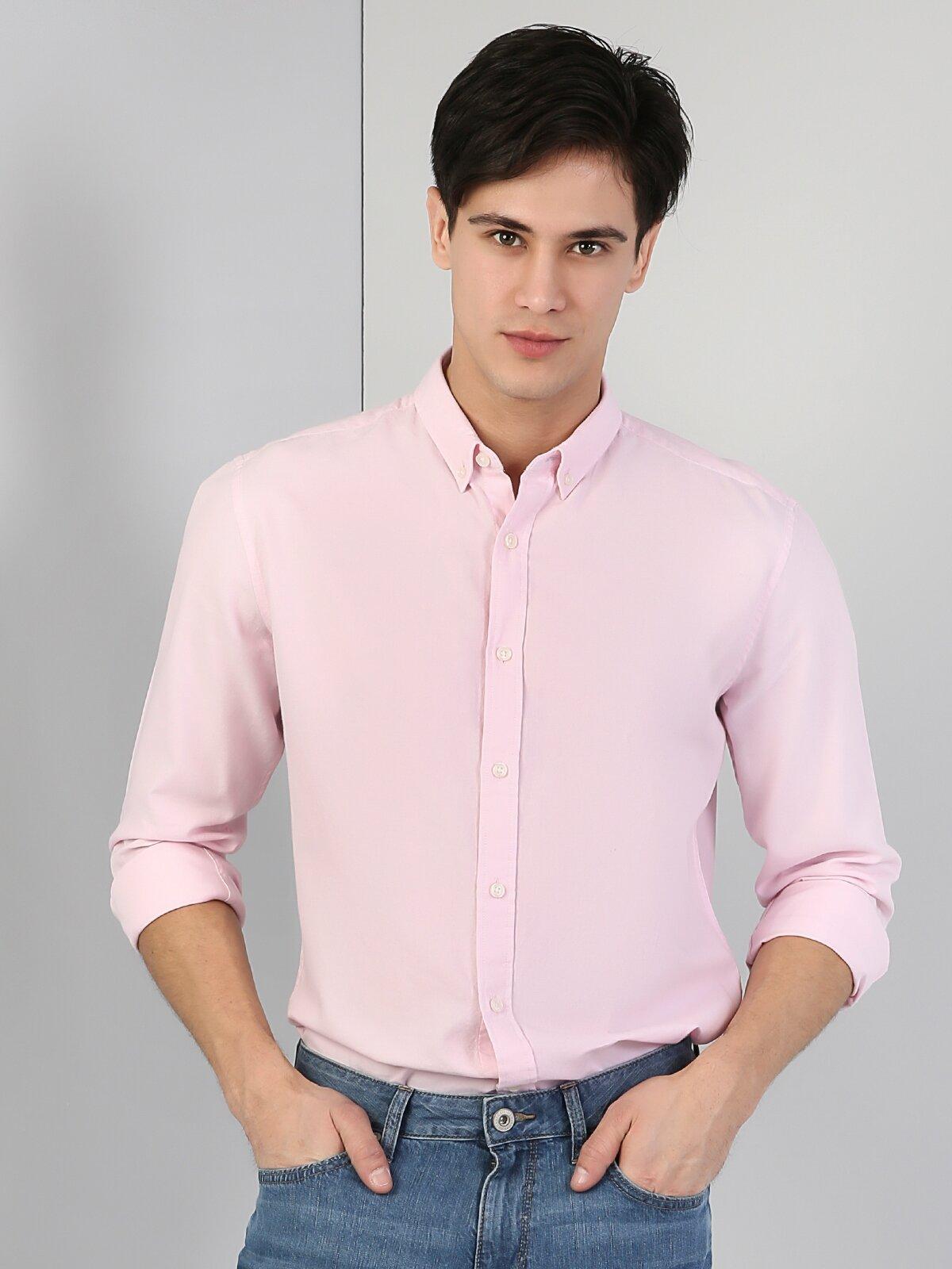 Pembe Uzun Kol Gömlek