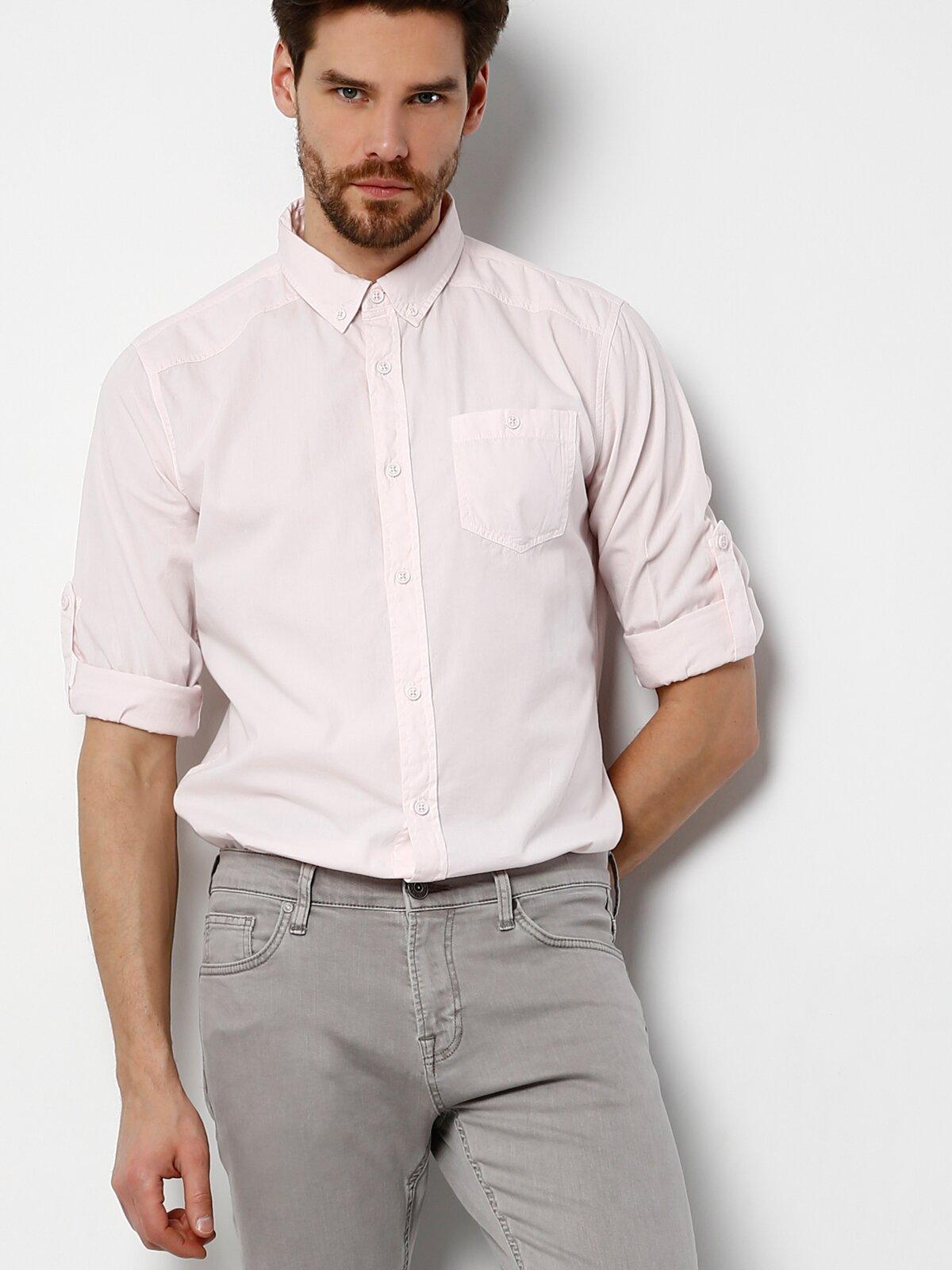 Modern Fit  Erkek Pembe Uzun Kol Gömlek