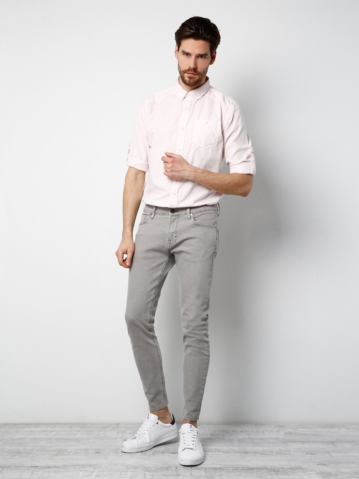 Kol Katlamalı Pembe Uzun Kol Gömlek