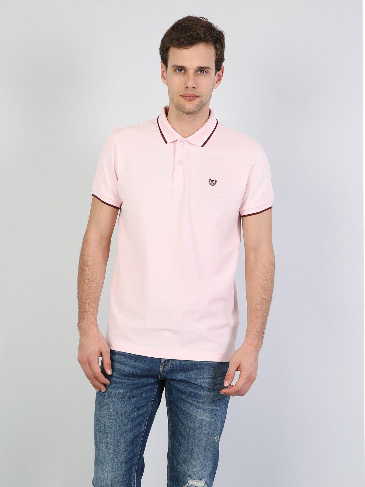 Polo Yaka Pembe Erkek Kısa Kol Tişört