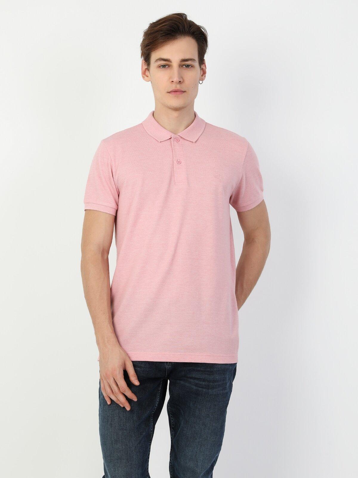 Regular Fit Polo Yaka Pembe Kısa Kol Erkek Tişört