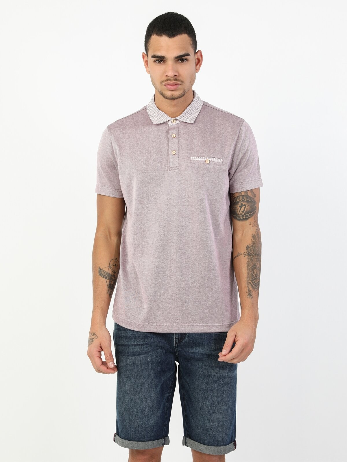 Regular Fit Polo Yaka Erkek Pembe Polo Kısa Kol