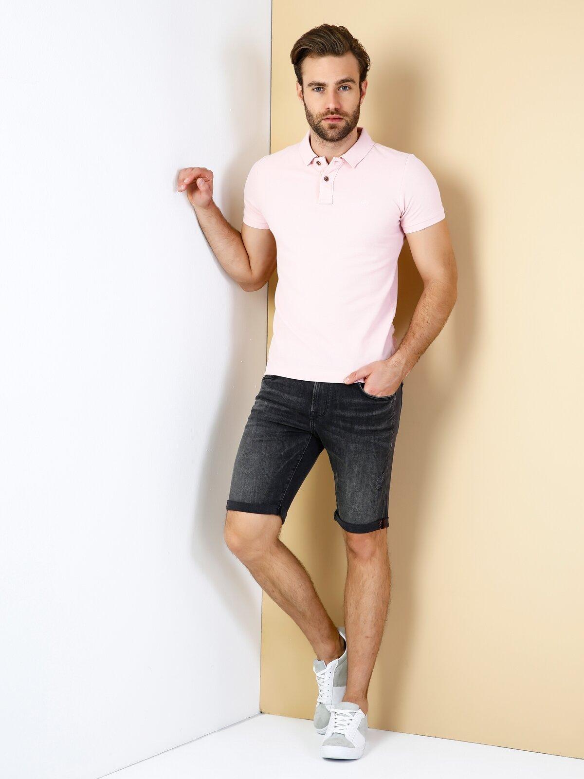 Slim Fit Polo Yaka Erkek Pembe Polo Kısa Kol